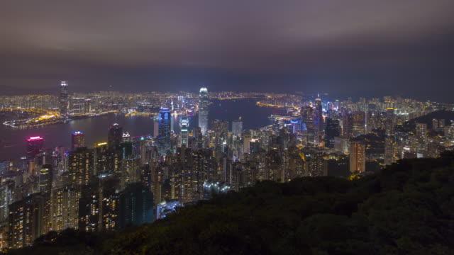 skyline von hong kong stadt vom victoria peak - dschunke stock-videos und b-roll-filmmaterial
