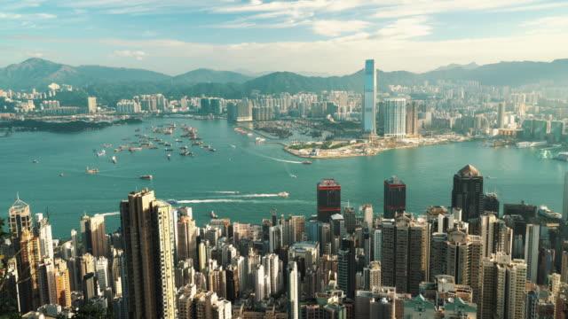 vídeos de stock e filmes b-roll de skyline of hong kong seen from victoria peak - victoria peak