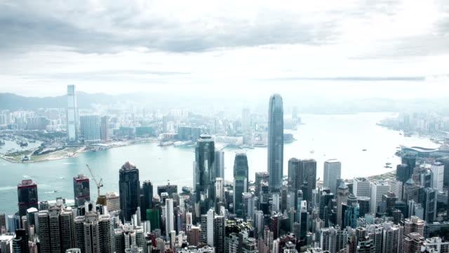 香港の街並み、time lapse (低速度撮影) - ビクトリアピーク点の映像素材/bロール