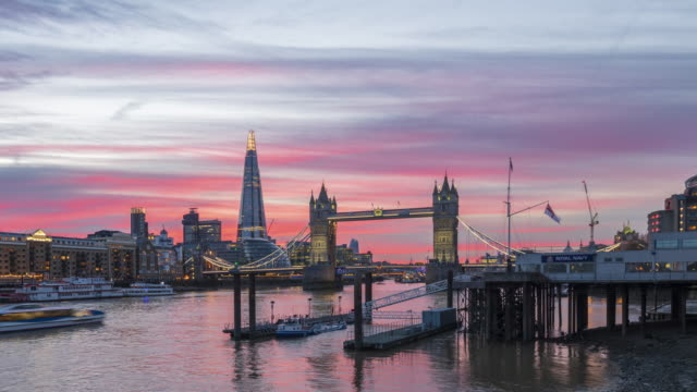 skyline of london and tower bridge at twilight time lapse - london bridge england stock videos & royalty-free footage