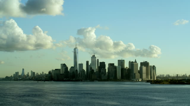 skyline of lower manhattan in nyc - distant stock videos and b-roll footage