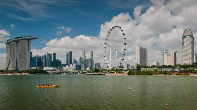 skyline of marina bay, singapore - day stock videos & royalty-free footage