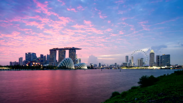 skyline of marina bay, singapore - singapore stock videos & royalty-free footage