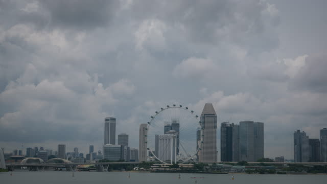 skyline of marina bay, singapore - marina stock videos & royalty-free footage