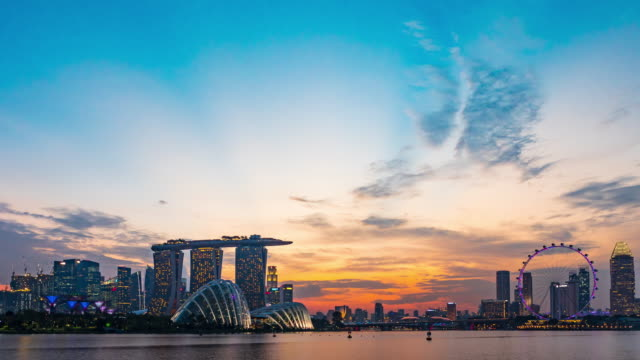 d2n skyline of marina bay, singapore - singapore stock videos & royalty-free footage