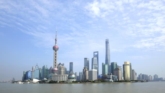vídeos y material grabado en eventos de stock de tl ws skyline of pudong with clouds and blue sky. shanghai, china - chapitel