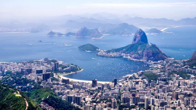 vidéos et rushes de tl skyline of rio de janeiro city - corcovado
