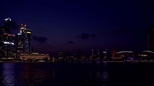 Skyline of Singapore Central Business District in Dusk hour
