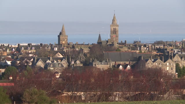 skyline of st andrews, scotland - st. andrews scotland stock videos & royalty-free footage