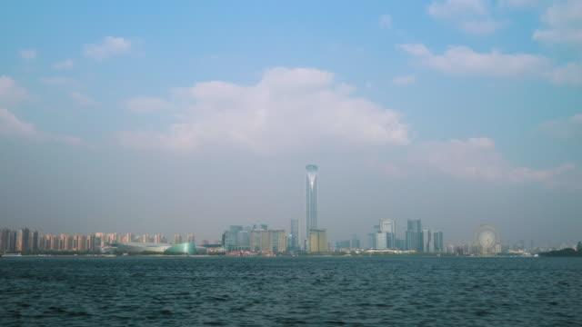 WS ZI Skyline of Suzhou Industrial Park across Jinji Lake, Suzhou, Jiangsu Province, China