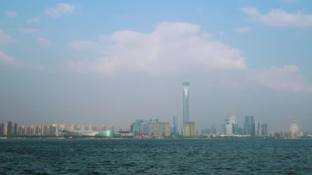 WS PAN Skyline of Suzhou Industrial Park across Jinji Lake, Suzhou, Jiangsu Province, China