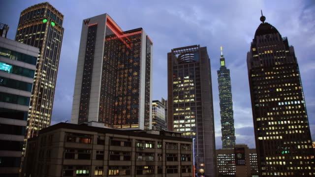 skyline of taipei city at night, taiwan - taipei 101 stock videos & royalty-free footage
