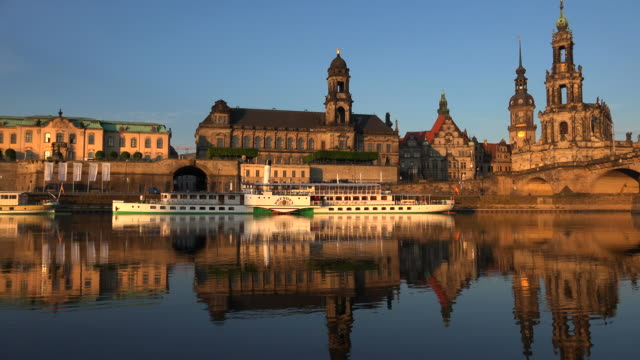 skyline of the old town of dresden, elbe river, saxony, germany - dresden germany stock videos & royalty-free footage