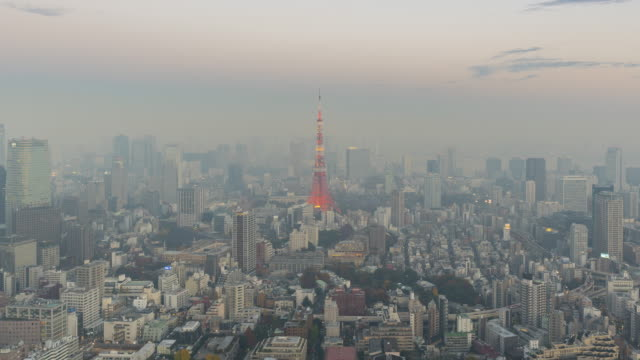 skyline of tokyo during twilight time lapse - overcast stock videos & royalty-free footage