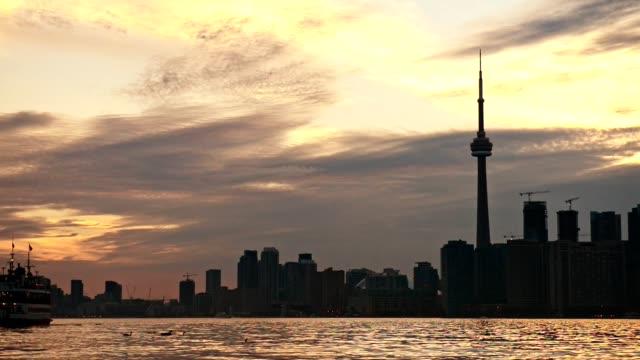 skyline of toronto at dusk - toronto stock videos & royalty-free footage
