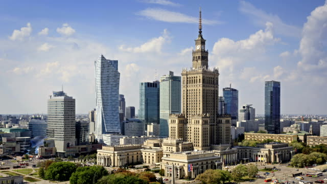 skyline of warsaw, poland - warsaw stock videos & royalty-free footage