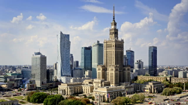 skyline of warsaw, poland - poland stock videos & royalty-free footage