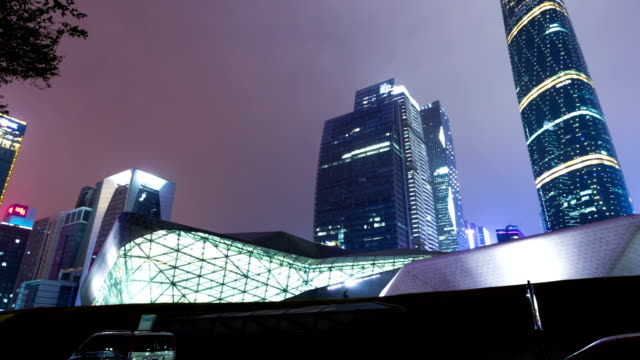skyline, office buildings and landmark of modern city,Guangzhou.Hyperlapse.