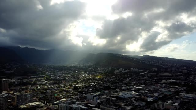 skyline over oahu, hawaii - honolulu stock videos and b-roll footage