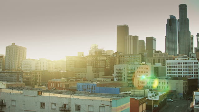 dtla skyline pan - loft apartment stock videos & royalty-free footage