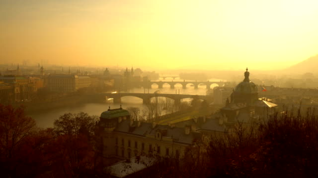 skyline prague at sunset - prague stock videos & royalty-free footage