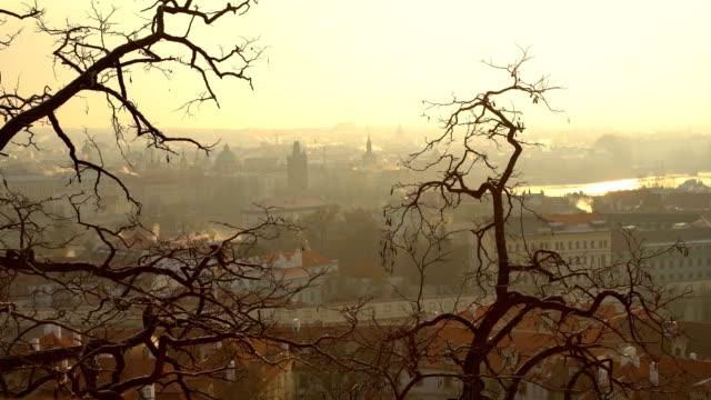 冬のスカイライン プラハ - プラハ旧市庁舎点の映像素材/bロール
