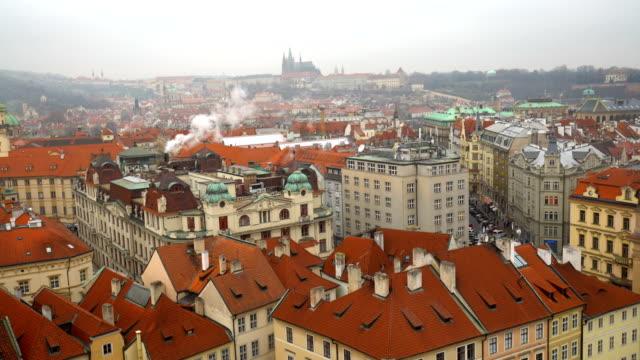 Skyline von Prag an einem bewölkten Tag