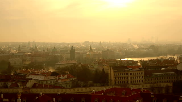 skyline prague, panning - traditionally czech stock videos and b-roll footage