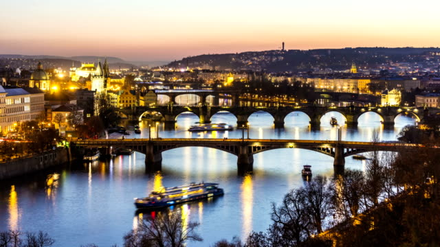 skyline prague with bridges at sunset, time lapse - traditionally czech stock videos & royalty-free footage