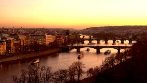 skyline prague with bridges at sunset - czech republic stock videos & royalty-free footage