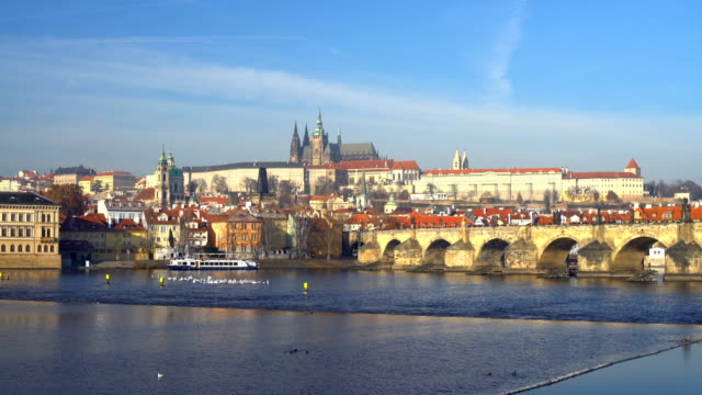 Skyline Prague with Charles Bridge, Time Lapse