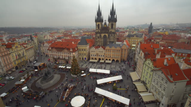 skyline prague with christmas market, time lapse - traditionally czech stock videos & royalty-free footage