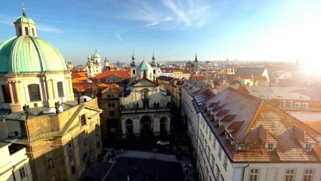 Skyline Prague with sun, time lapse