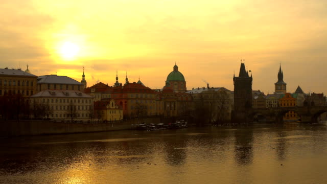 skyline prague with sun - czech culture stock videos and b-roll footage