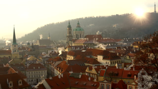 skyline prague with sun - prague stock videos and b-roll footage