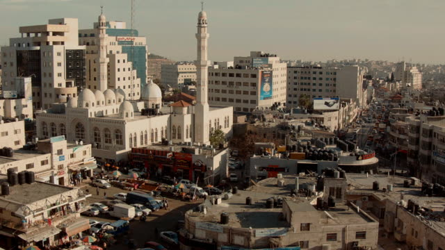 Skyline Ramallah with Central Mosque and Market seen from above.