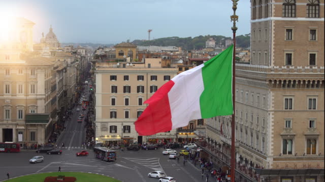 skyline rome with italian flag - national flag stock videos & royalty-free footage