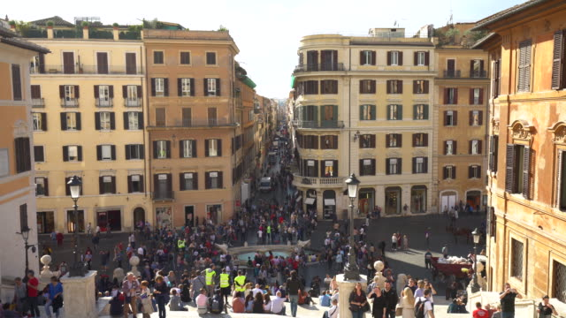 skyline rome with sun and many people, closse to the spanish stairs - treppe stock videos and b-roll footage