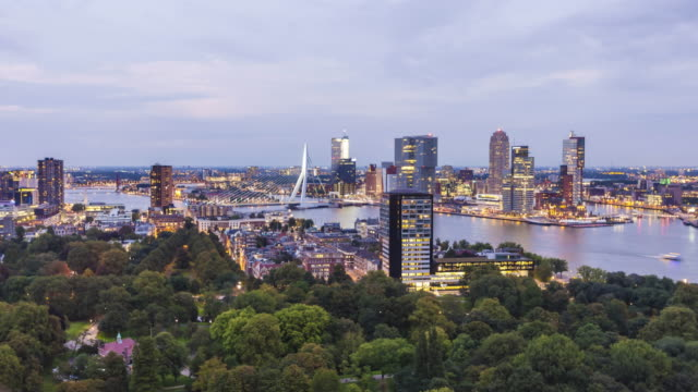 skyline rotterdam at sunset, time lapse - rotterdam stock videos and b-roll footage