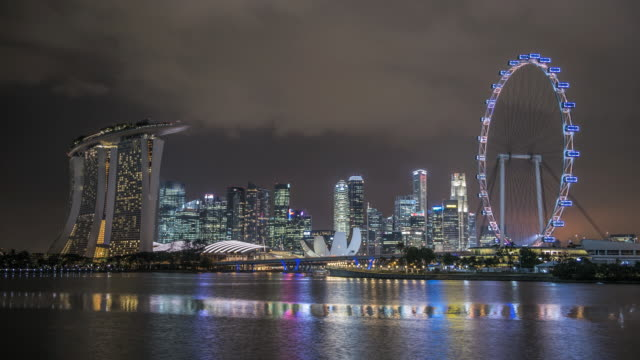 ws t/l skyline showing marina bay sands and flyer at night during light show / singapore - singapore flyer stock videos and b-roll footage