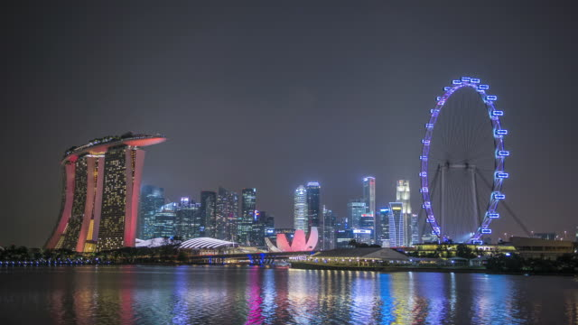 ws t/l skyline showing marina bay sands and flyer / singapore - singapore flyer stock videos and b-roll footage