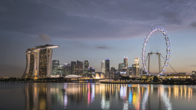 WS T/L Skyline showing Marina Bay Sands and Singapore Flyer at dusk / Singapore