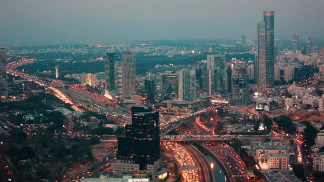skyline tel aviv with busy rush hour traffic in twilight. - israel stock videos & royalty-free footage