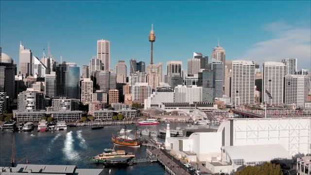 skyline video. aerial view from drone of darling harbour, sydney, australia. 4k video - australia stock videos & royalty-free footage