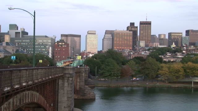 skyline view of back bay from longfellow bridge in boston united states - back bay boston stock videos & royalty-free footage