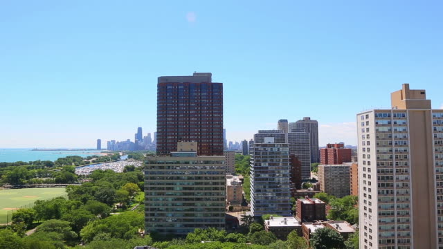skyline view of chicago, illinois - lakeshore stock videos and b-roll footage