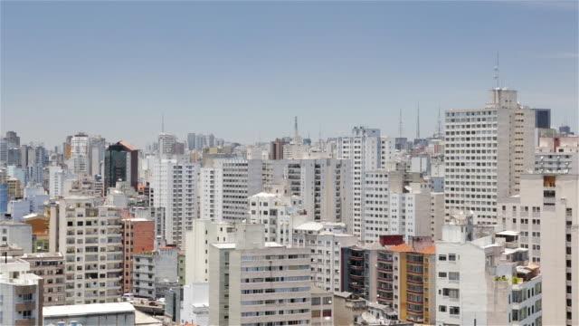 vídeos de stock e filmes b-roll de ms, ha skyline view of residential area in bom retiro, downtown sao paulo / sao paulo, brazil - plano picado