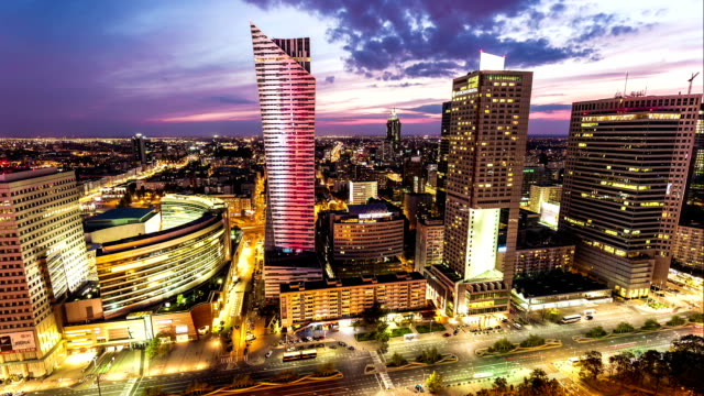 skyline warsaw, business district - warsaw stock videos & royalty-free footage