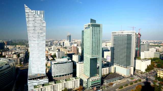 skyline warsaw, business district - warsaw stock videos and b-roll footage
