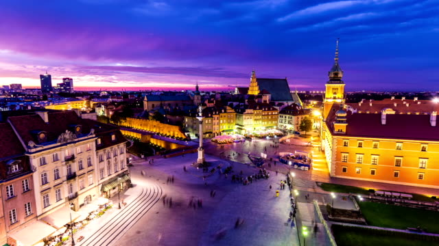 skyline warsaw by night - warsaw stock videos & royalty-free footage